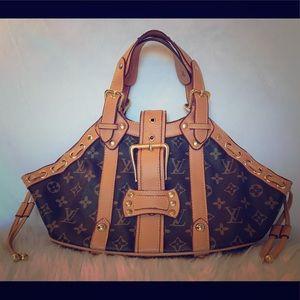 Louis Vuitton Brown Leather Monogram Theda Bag